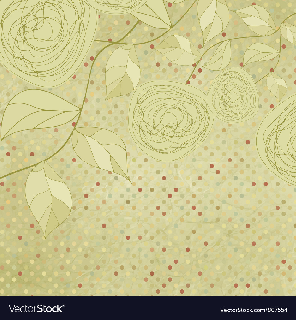 Vintage rose floral card not autotraced eps 8 vector