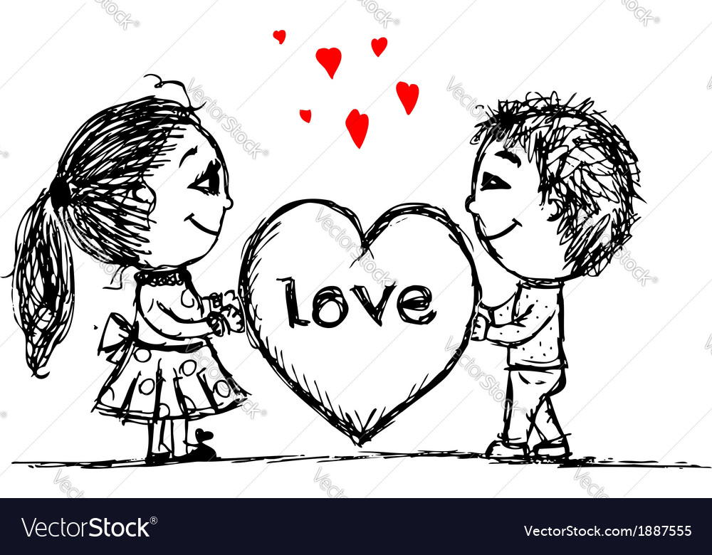 Couple in love together valentine sketch for your vector