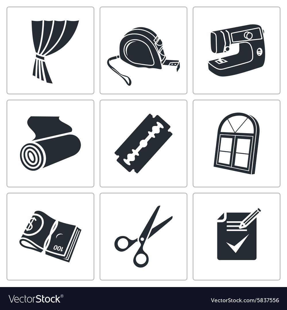 Sewing curtains service icons set vector