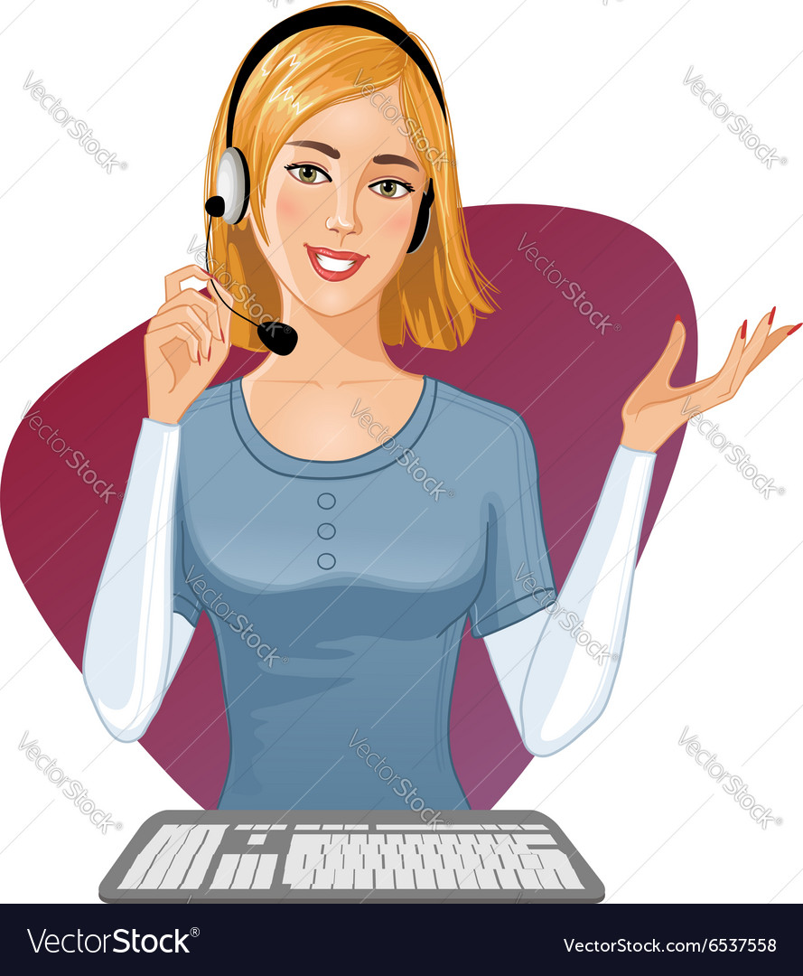 Young girl a call operator at a keyboard vector