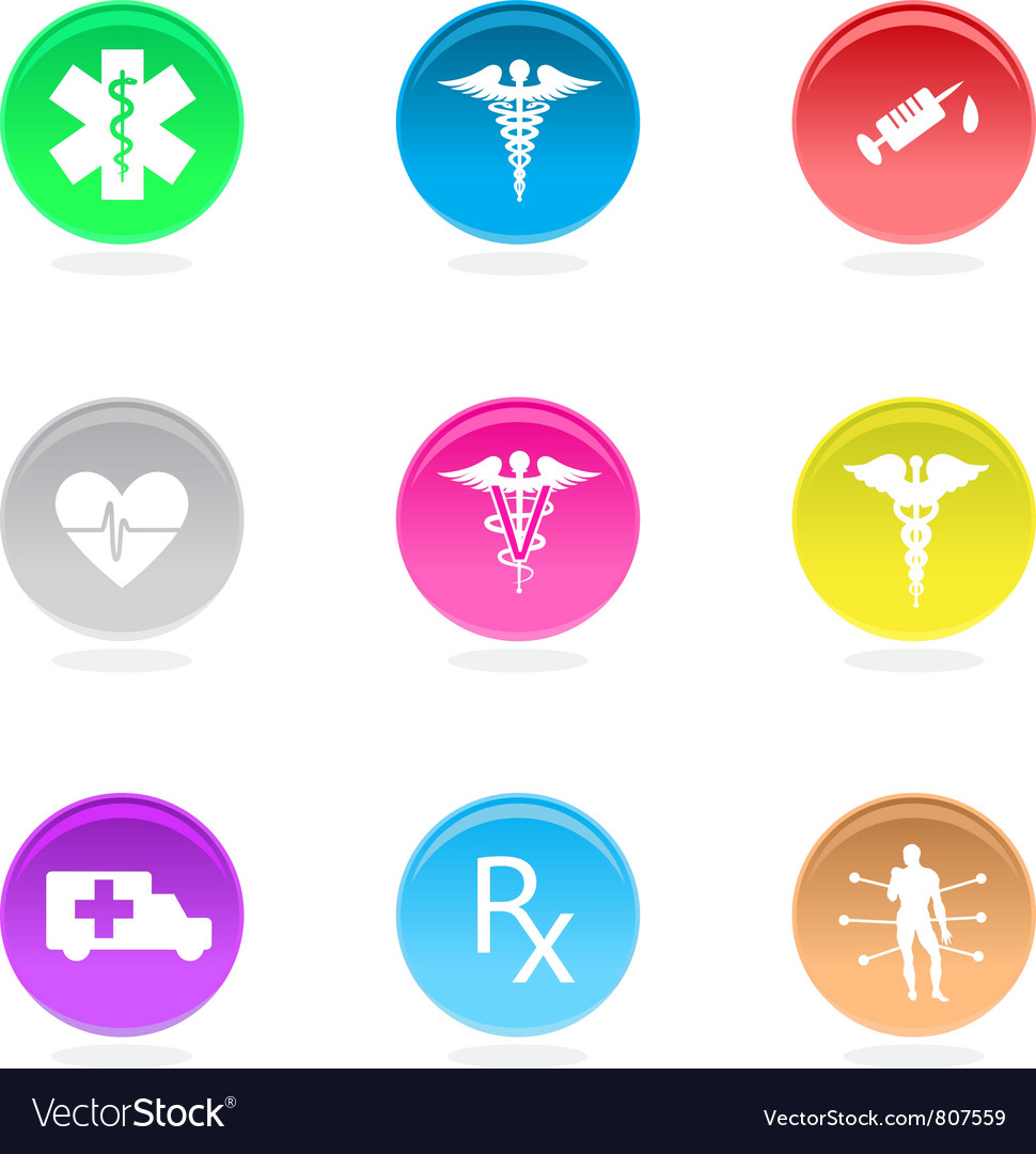Medical circular icons vector