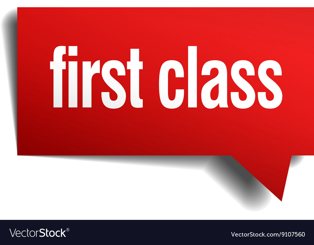 First class red 3d realistic paper speech bubble vector