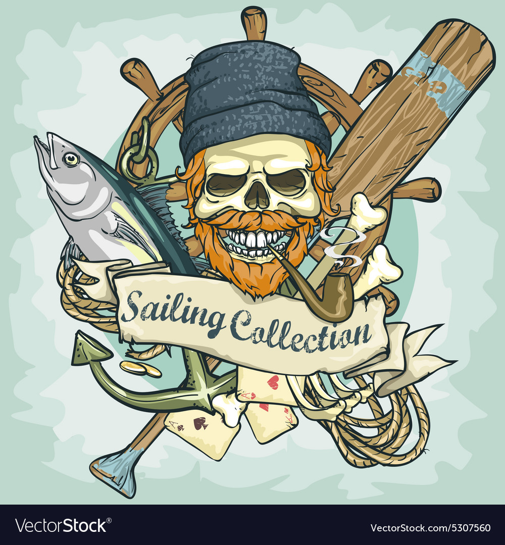 Fisherman skull logo design  sailing collection vector