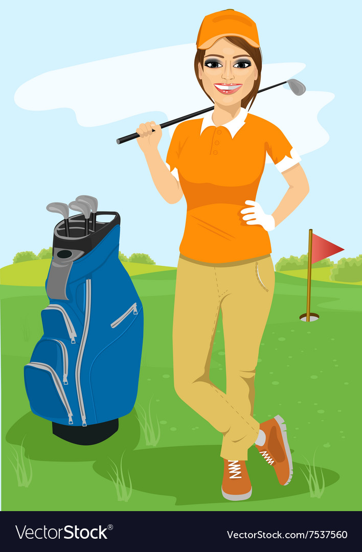 Pretty female golfer with golf club vector