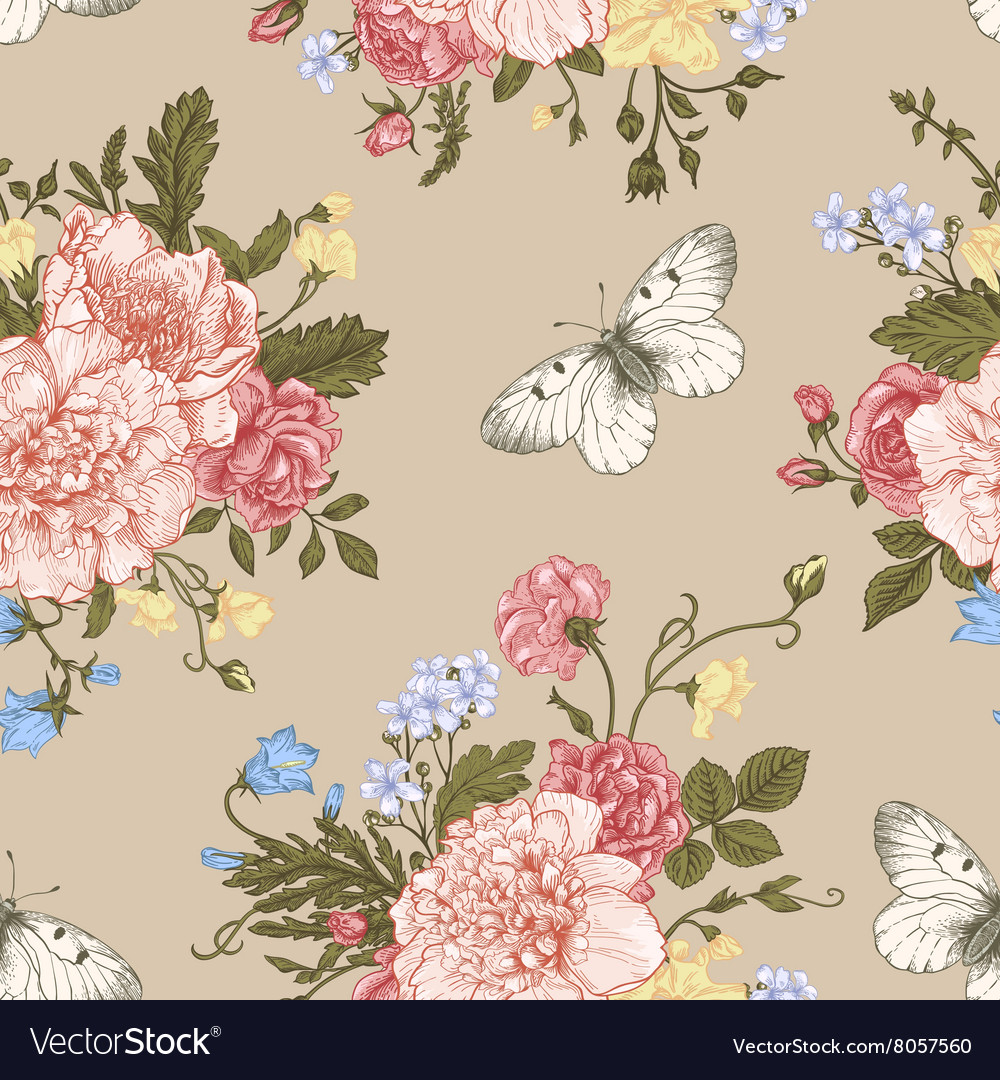 Seamless floral pattern with bouquet vector