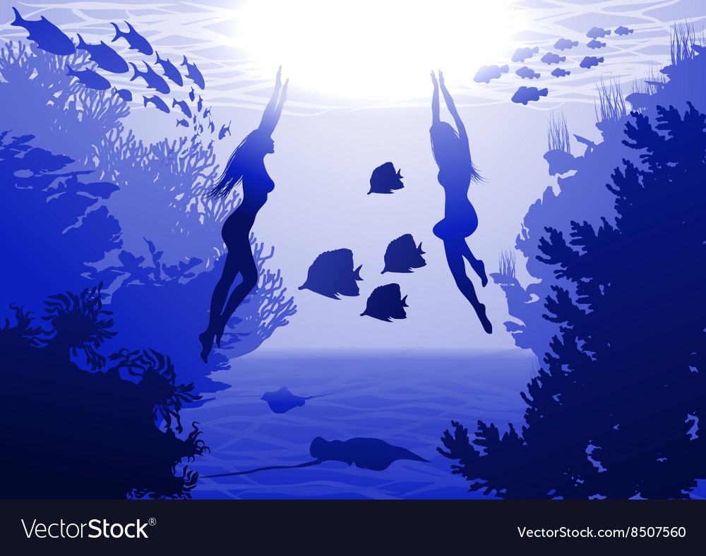 Underwater with mermaids vector