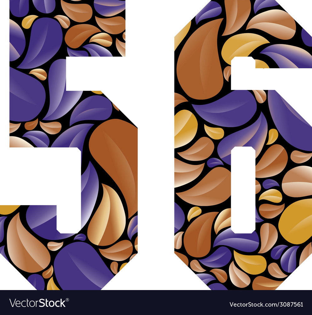 Beautiful floral numbers 5 and 6 vector
