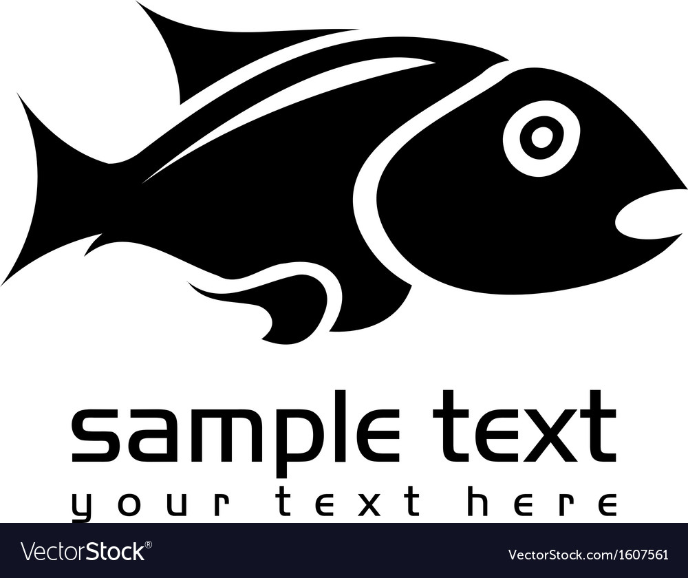 Black isolated fish vector