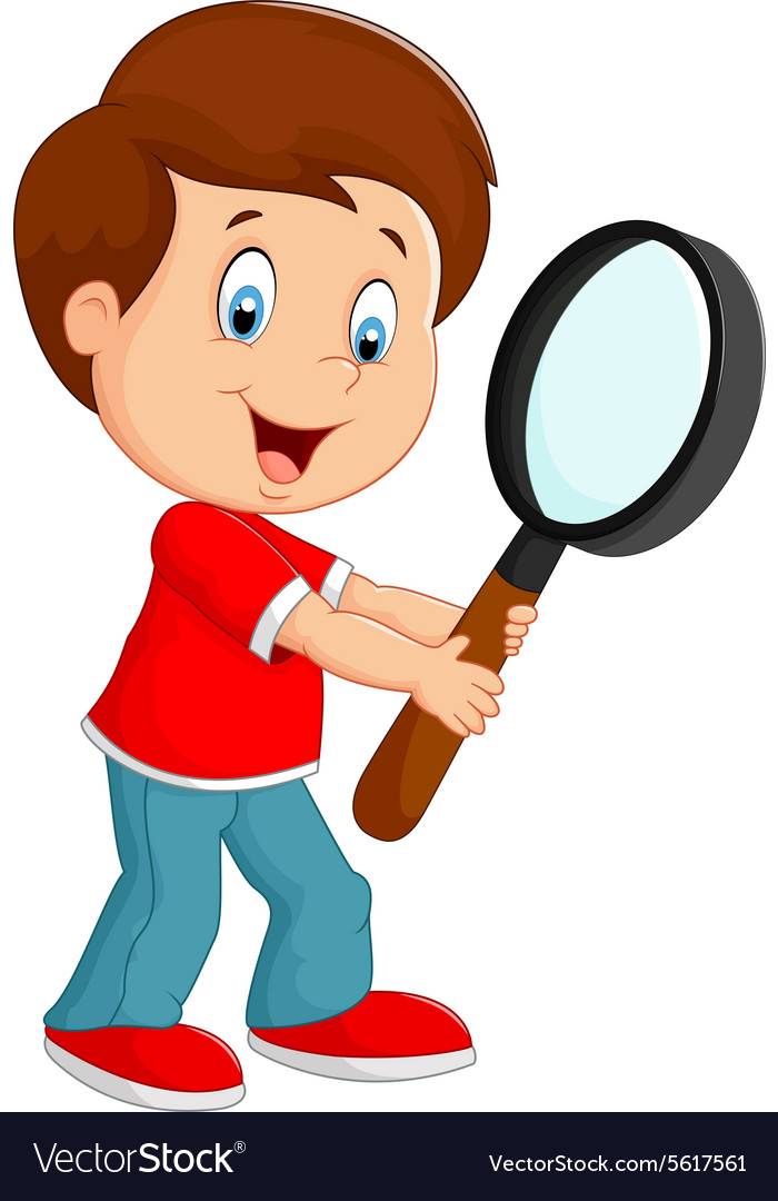 Boy holding a magnifier vector