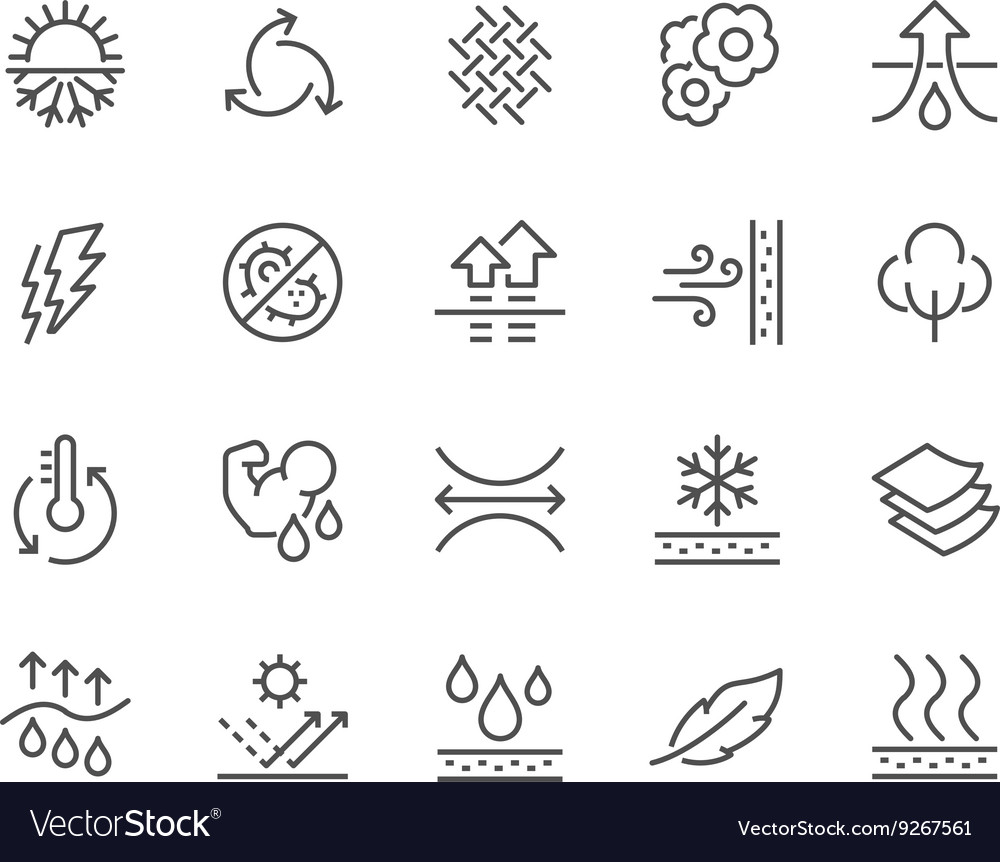 Line fabric feature icons vector