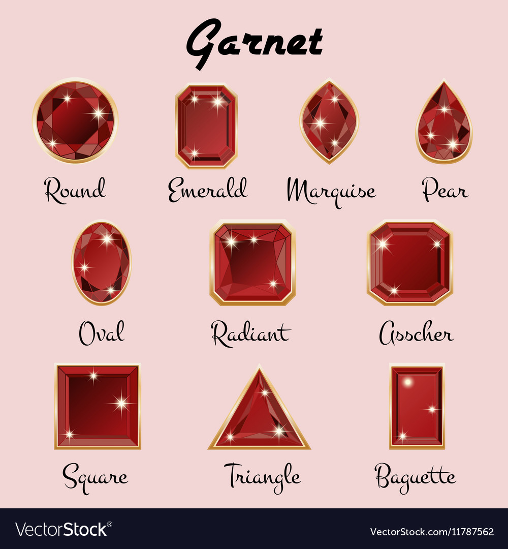 Types of cuts of garnet vector