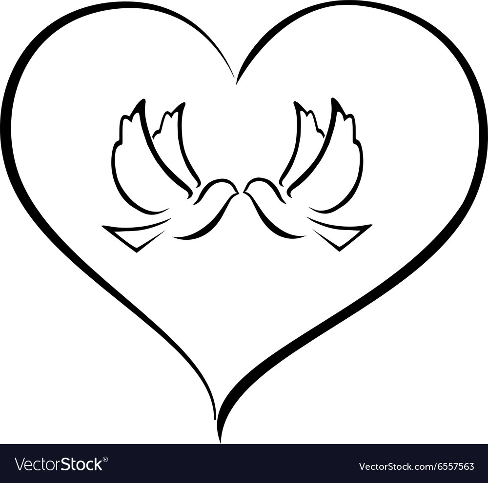 Doves in a heart vector