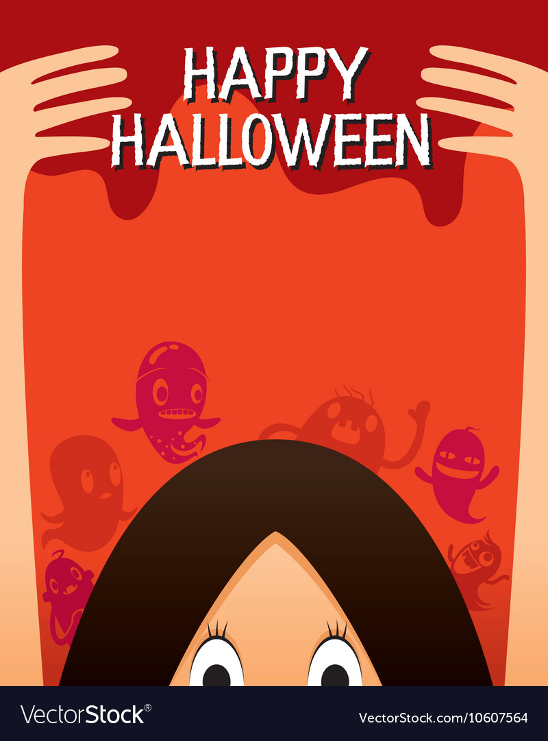 Halloween ghost and monsters character poster vector