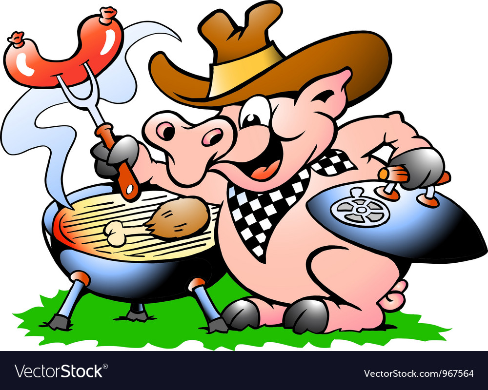 Handdrawn of an pig standing and making bbq vector