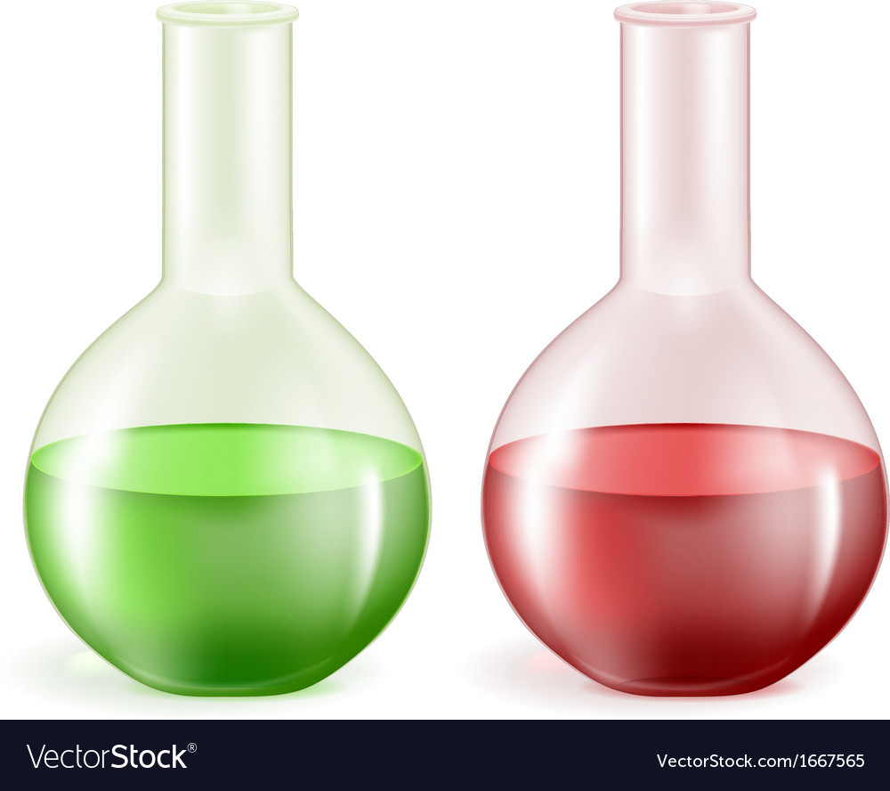 Laboratory glassware with green and red liquids vector