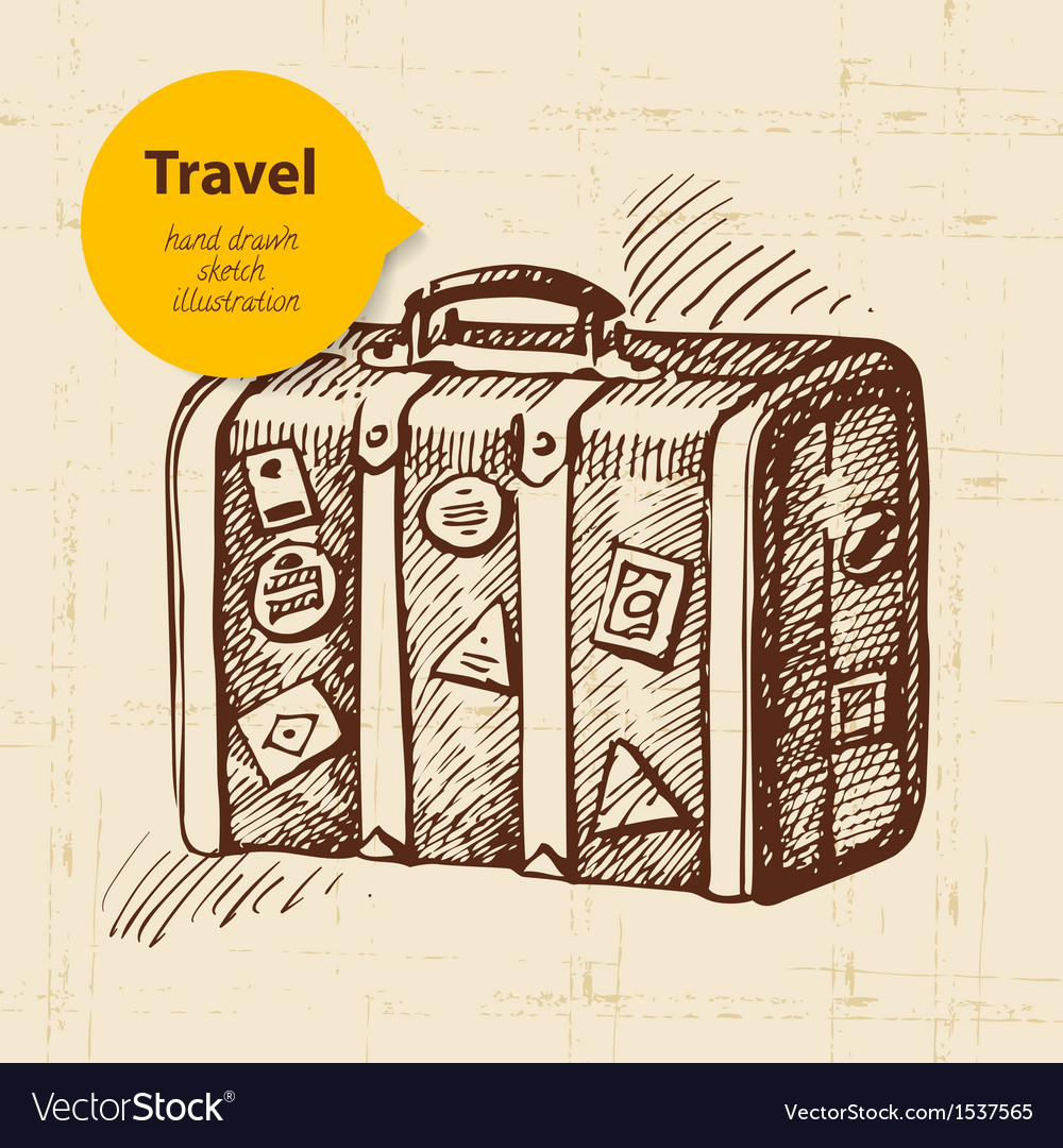 Vintage background with travel suitcase vector