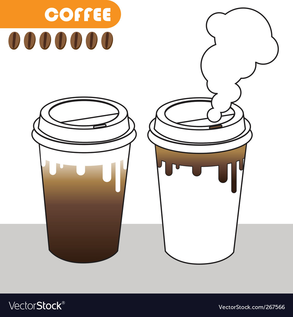 Coffee cup with coffee beans vector