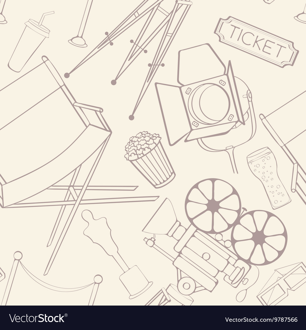Seamless cinema pattern vector