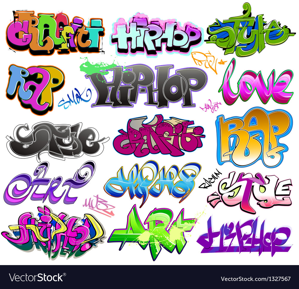 Graffiti urban art set vector