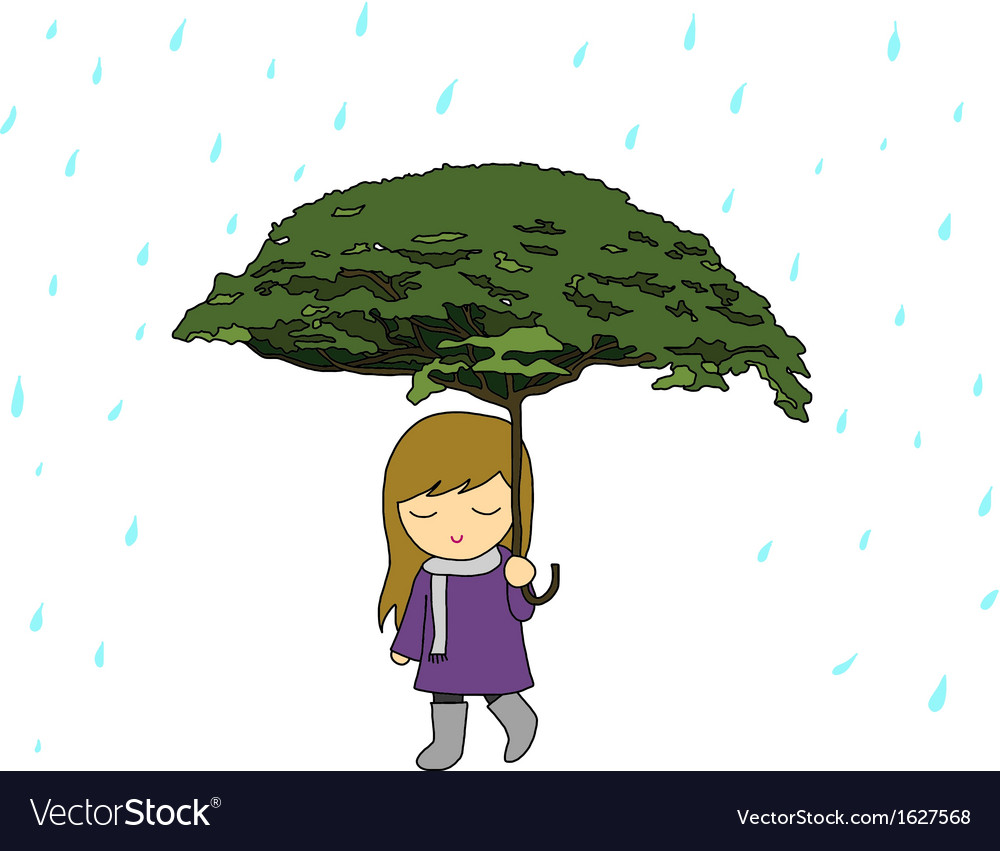 Girl with tree umbrella in the rain vector