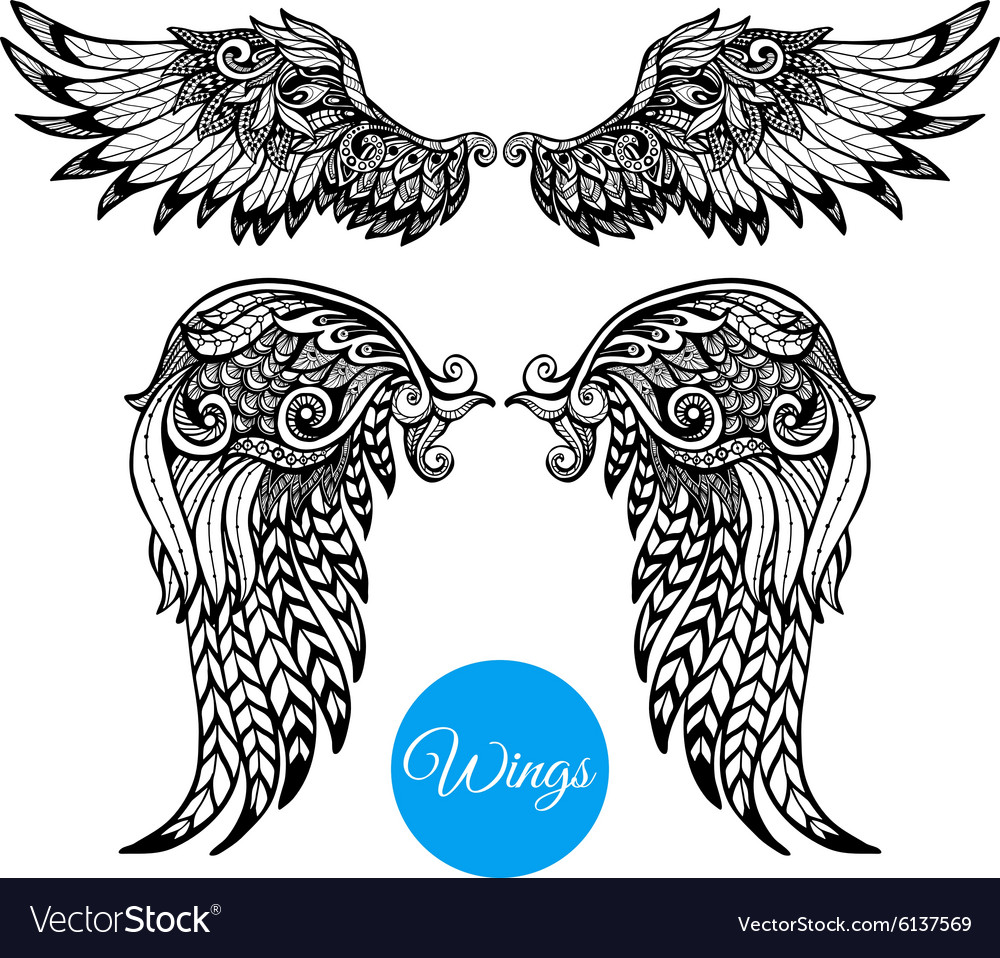 Decorative wings set vector