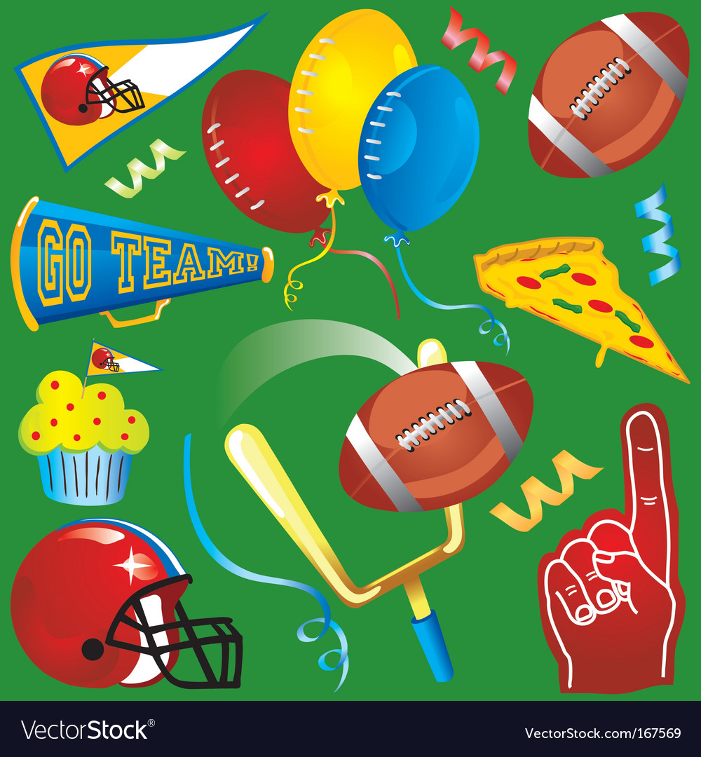 Football party icons vector
