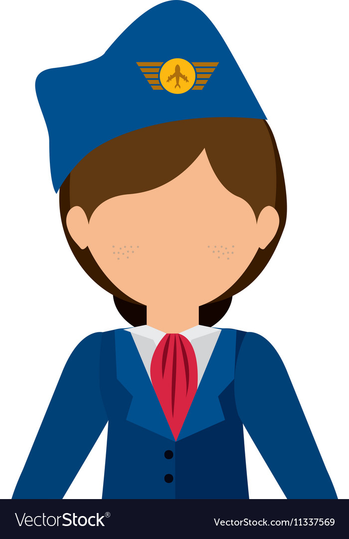 Half body flight attendant with suit and hat vector