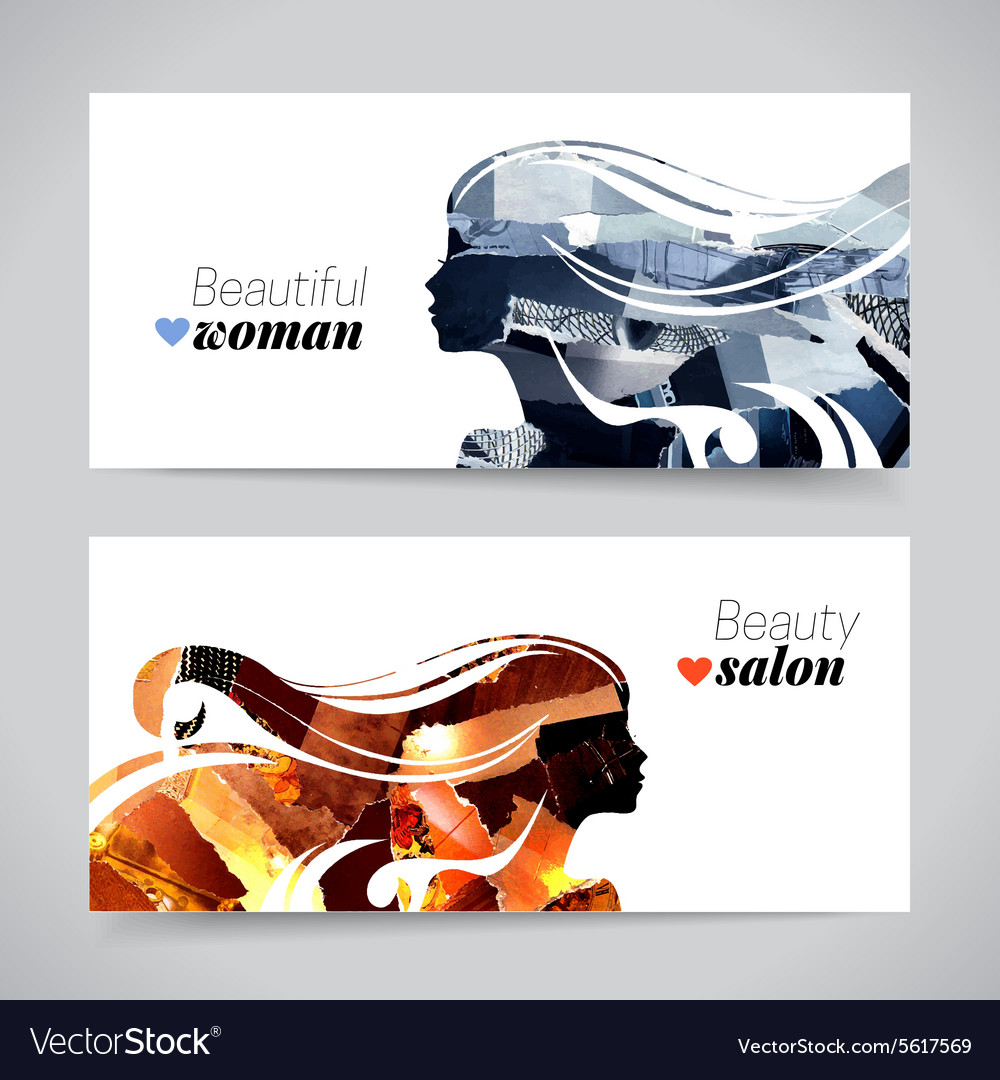 Set of banners with magazine snippets collage vector