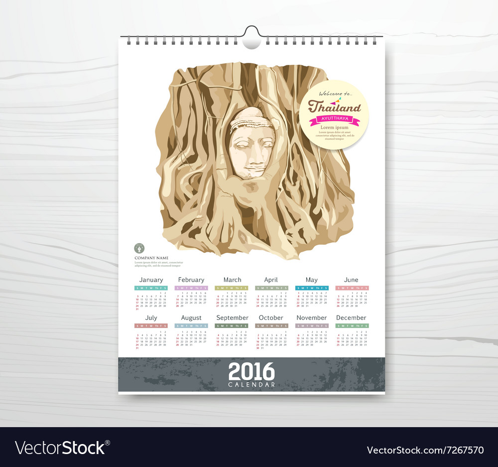 Calendar the roots around the head of buddha vector