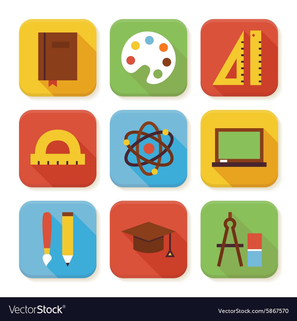 Flat school and education squared app icons set vector