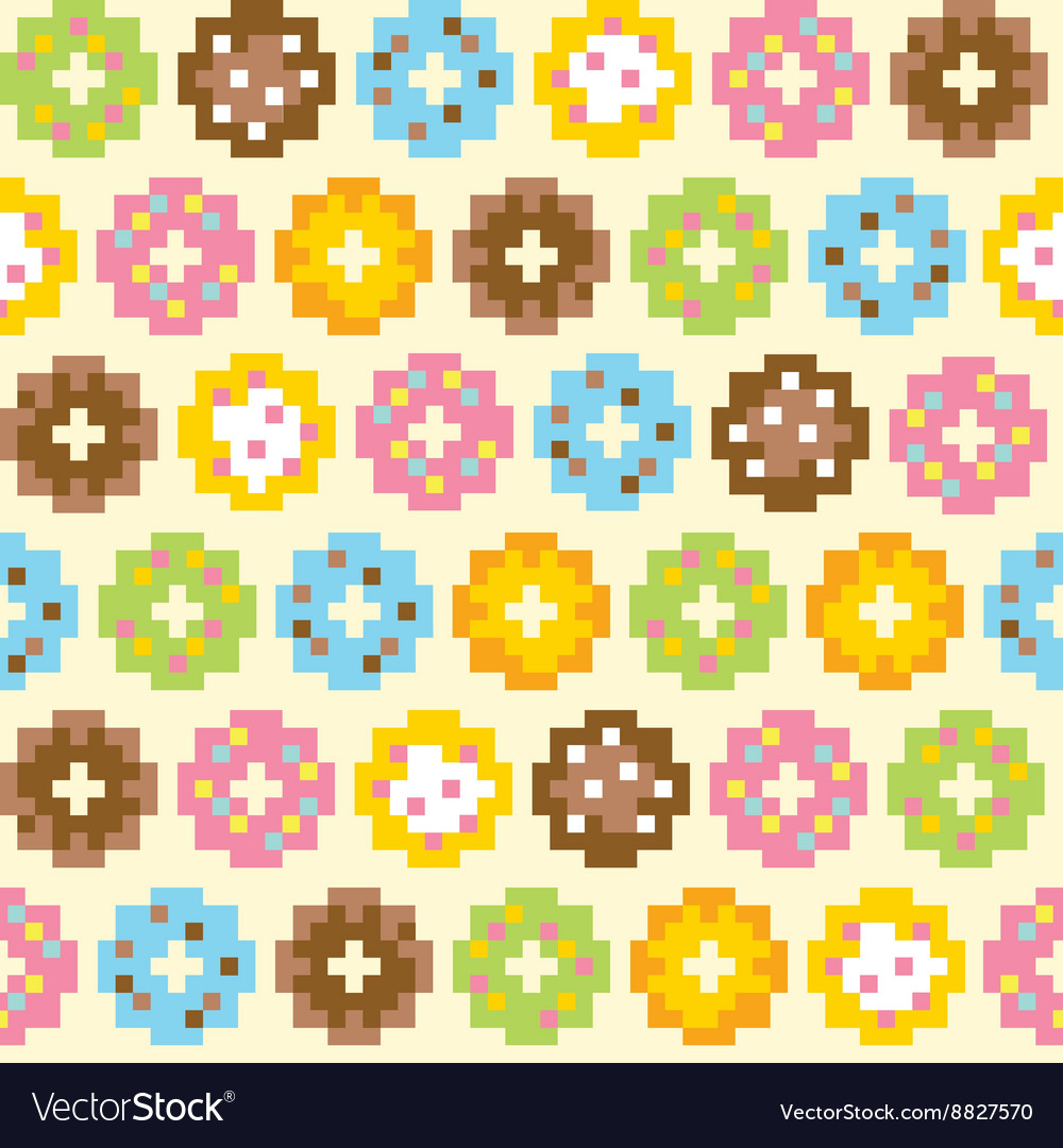 Pixel art style donut seamless background vector