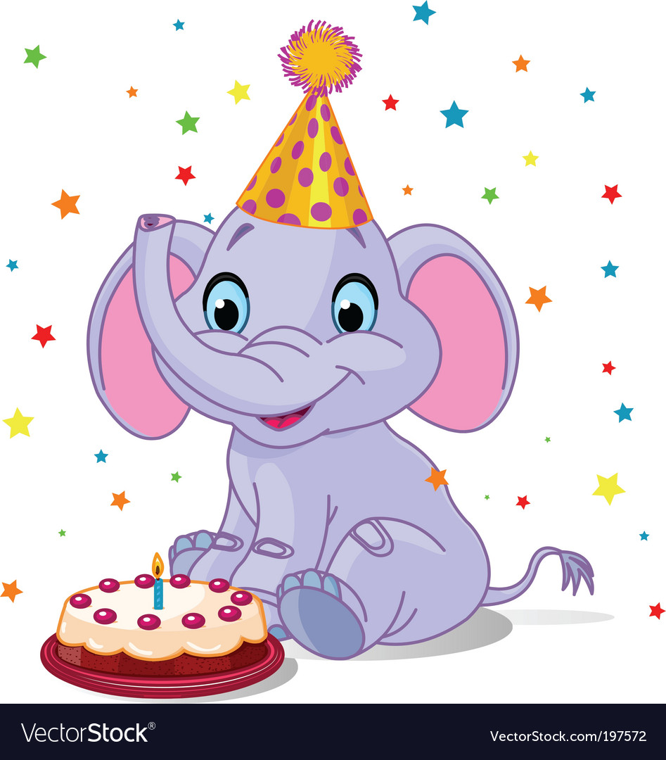 Baby elephant birthday vector