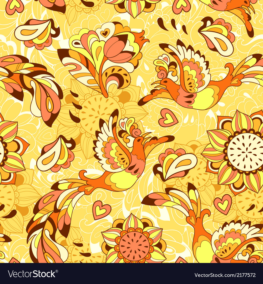Colorful pattern with bird phoenix and sunflower vector