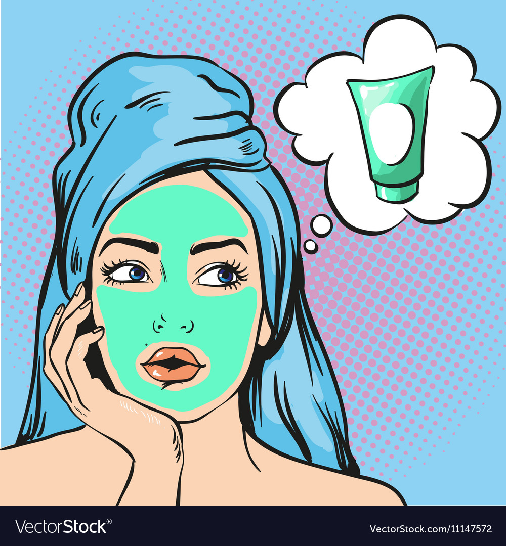 Woman with beauty cosmetic mask on face vector