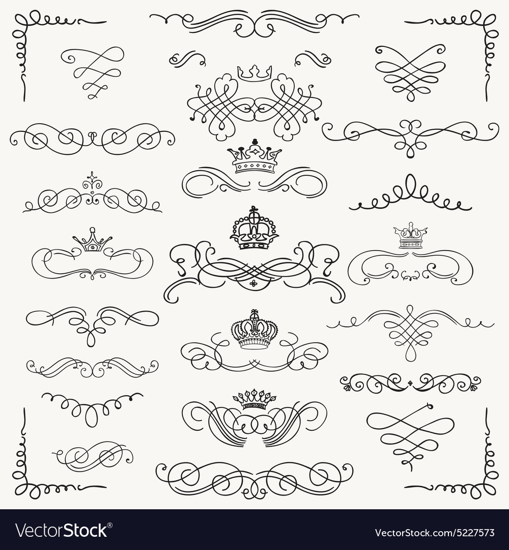 Black vintage hand drawn swirls and crowns vector