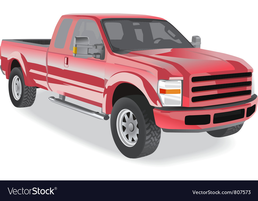 Pickup truck red on white vector