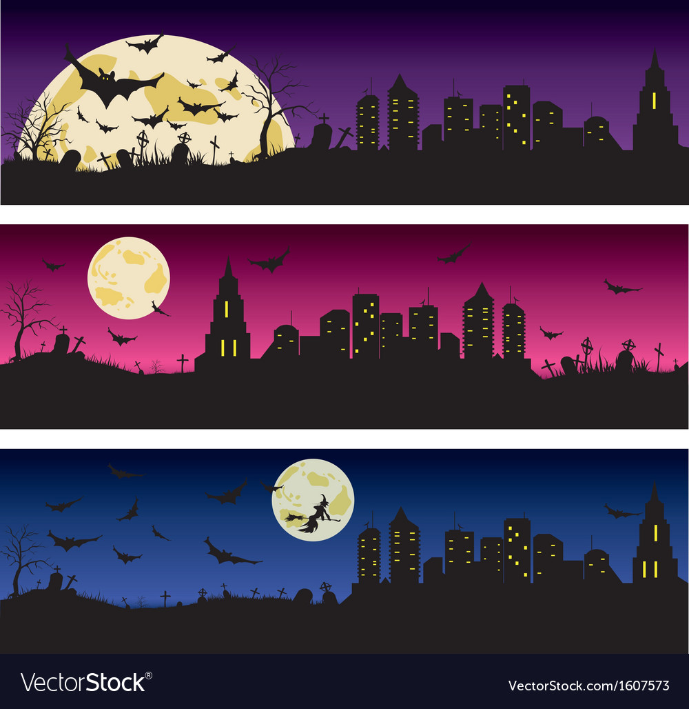 Set of halloween night banners vector