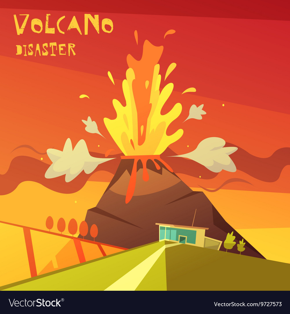 Volcano disaster vector