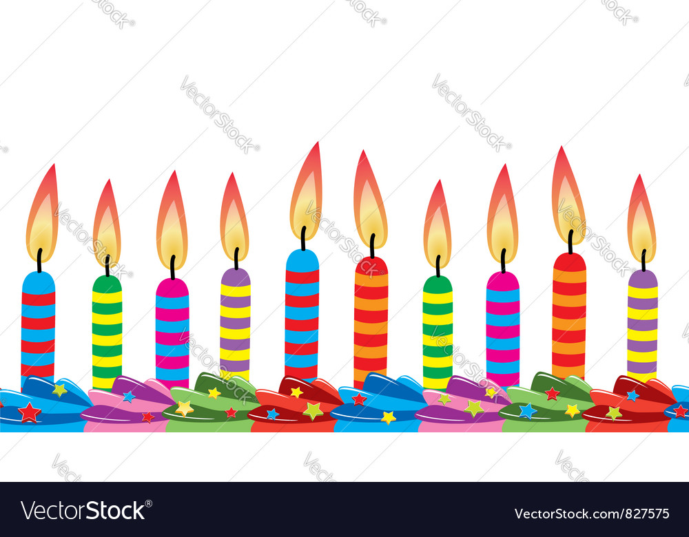 Birthday candles on cake vector