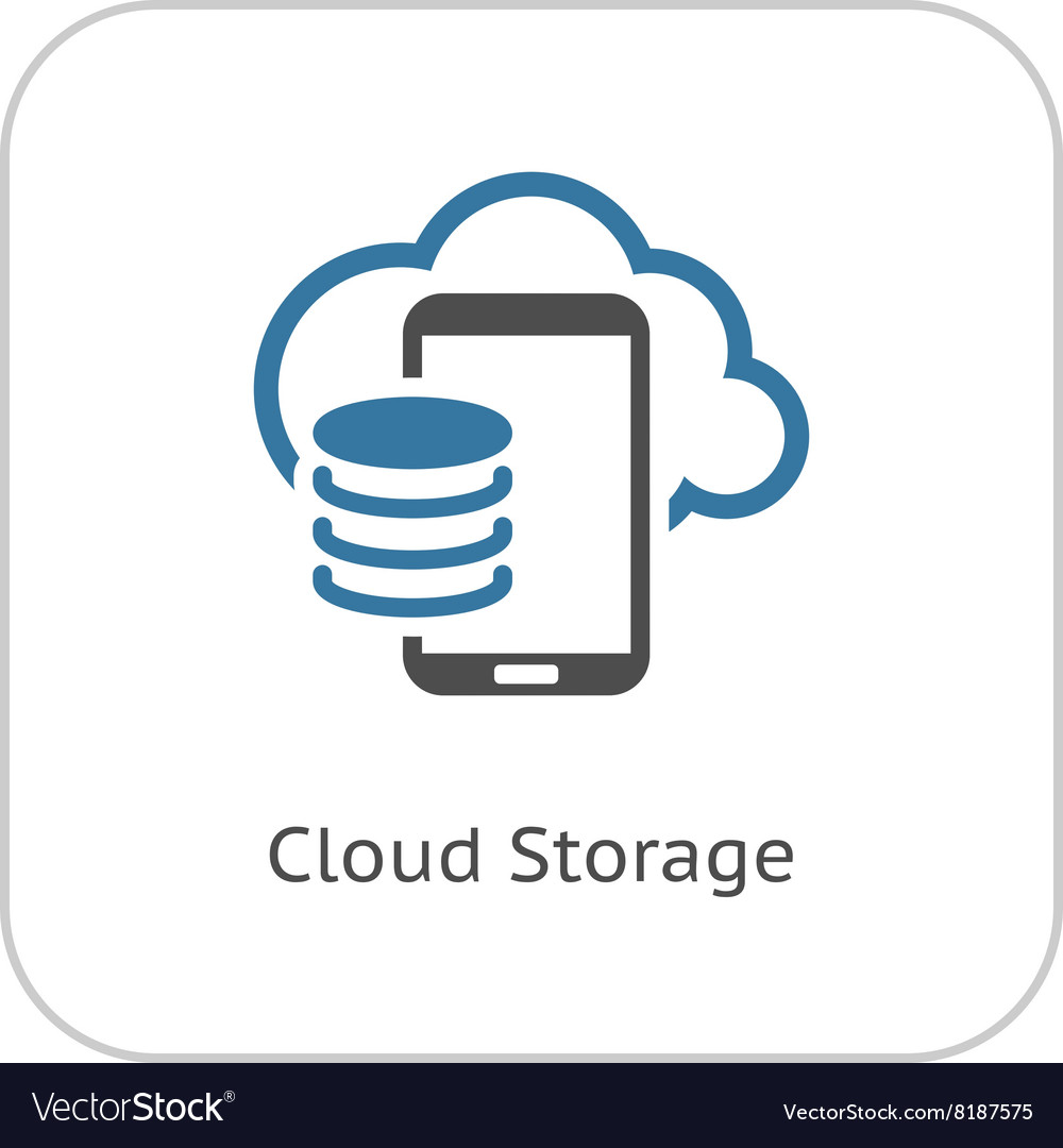 Cloud storage icon flat design vector