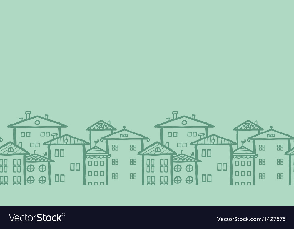 Doodle town houses horizontal seamless pattern vector