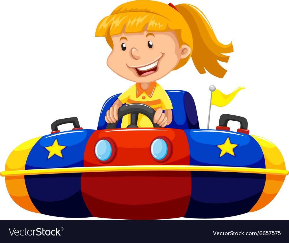 Little girl riding in bump car vector