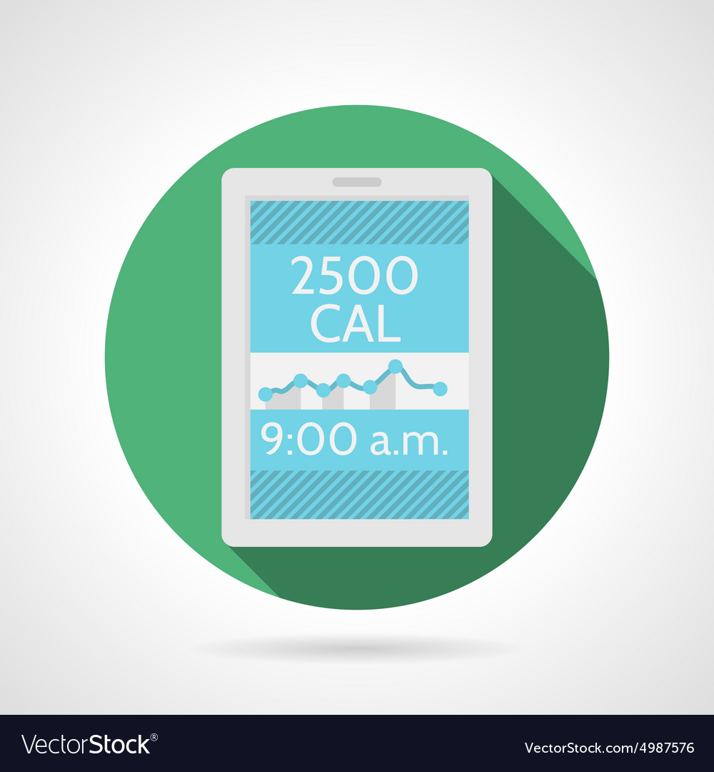 Flat color icon for app calorie counter vector