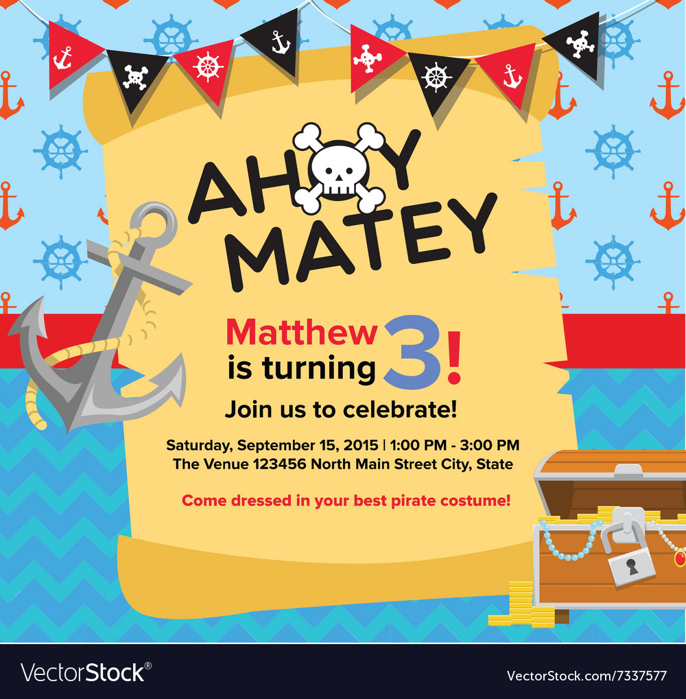 Ahoy matey pirate birthday invitation card vector