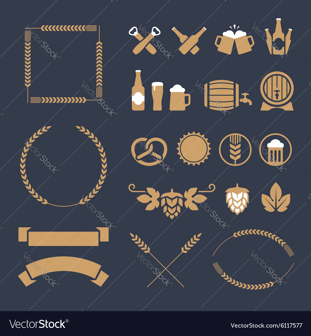 Beer icons and signs vector