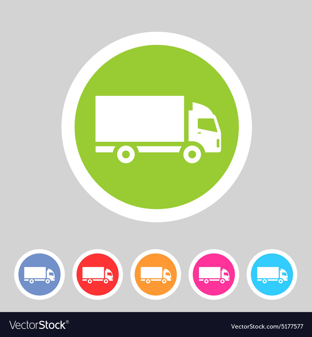 Cargo truck flat icon web sign symbol logo label vector