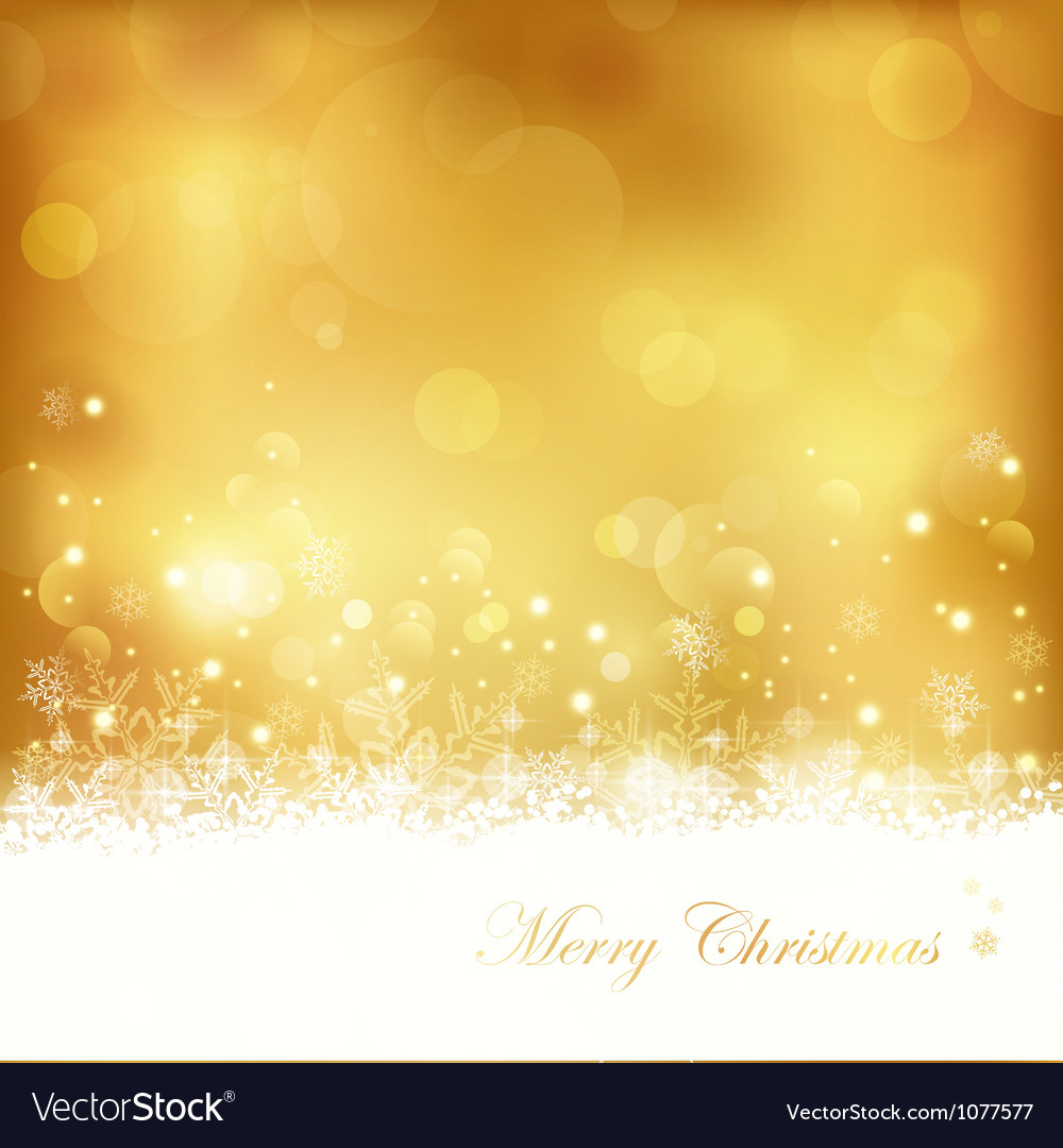 Golden glowing christmas background vector