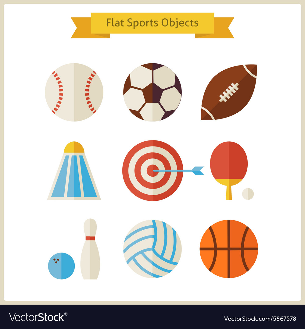 Flat sports objects set vector