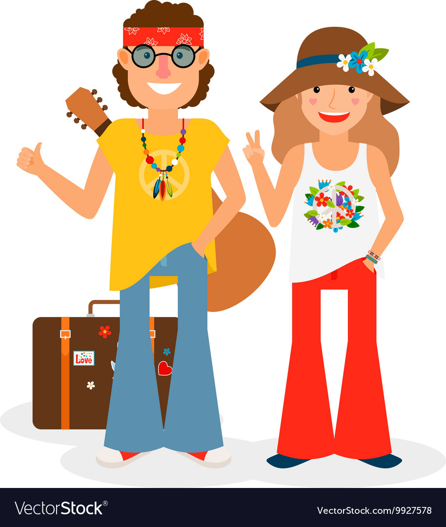 Hippie couple hitchhiking vector