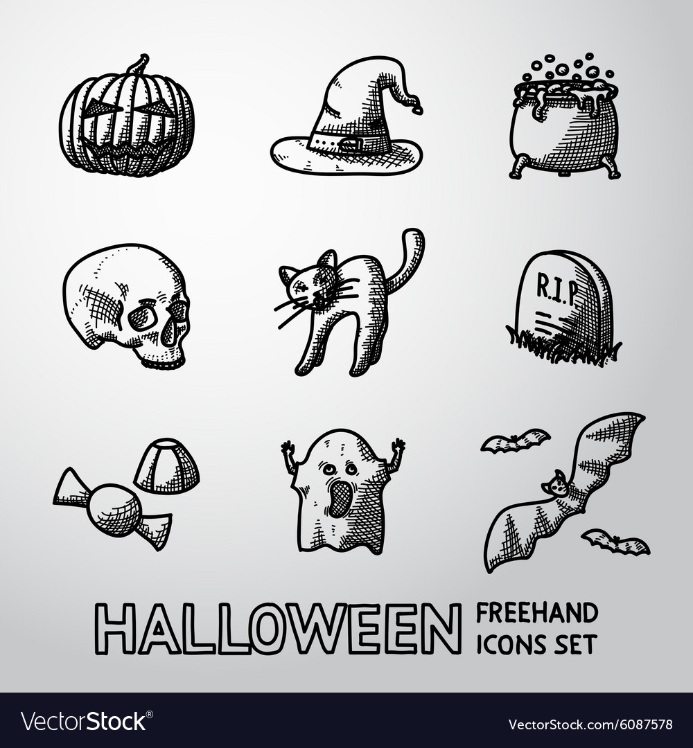 Set of freehand halloween icons pumpkin witch vector